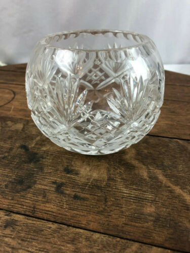 """Vintage Clear Crystal Glass Rose Bowl 3.5"""" Tall"""