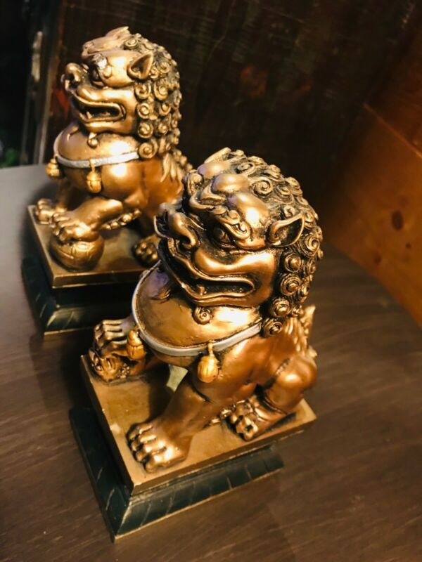 Foo Dogs 6.5 inches tall. Heavy.