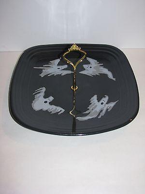 Fiestaware, Square HostessTray, Halloween Plate, Fiesta, Slate grey w/ Ghosts](Fiesta Halloween)