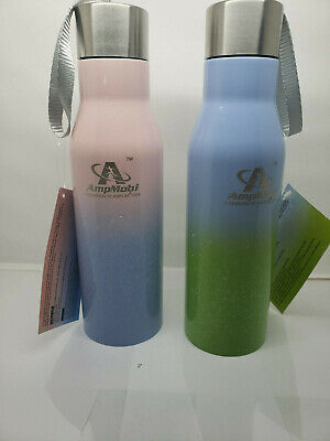 Ampmobi Vacuum Insulated Stainless Steel Water Bottle 16 Oz Blue/Green Pink/blue