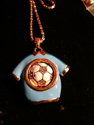 Betsey johnson blue enamel Crystal soccer shirt with rotating ball necklace