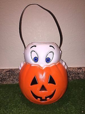 """Vintage Halloween 10"""" Empire Ghost On A Pumpkin Trick-Or-Treat Blow Mold Pail"""