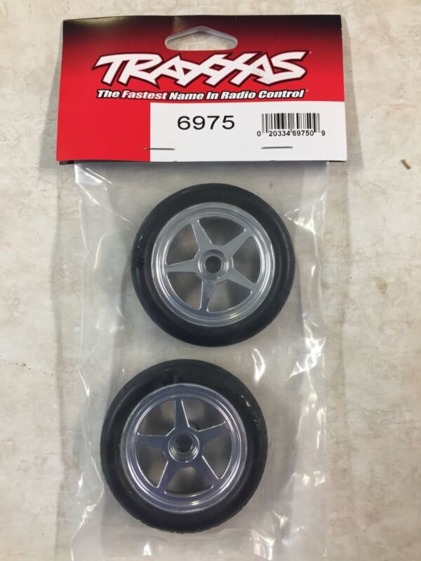 New Traxxas (Chrome) Pre-Mounted Front 5spoke funny car Tires (2) 6975