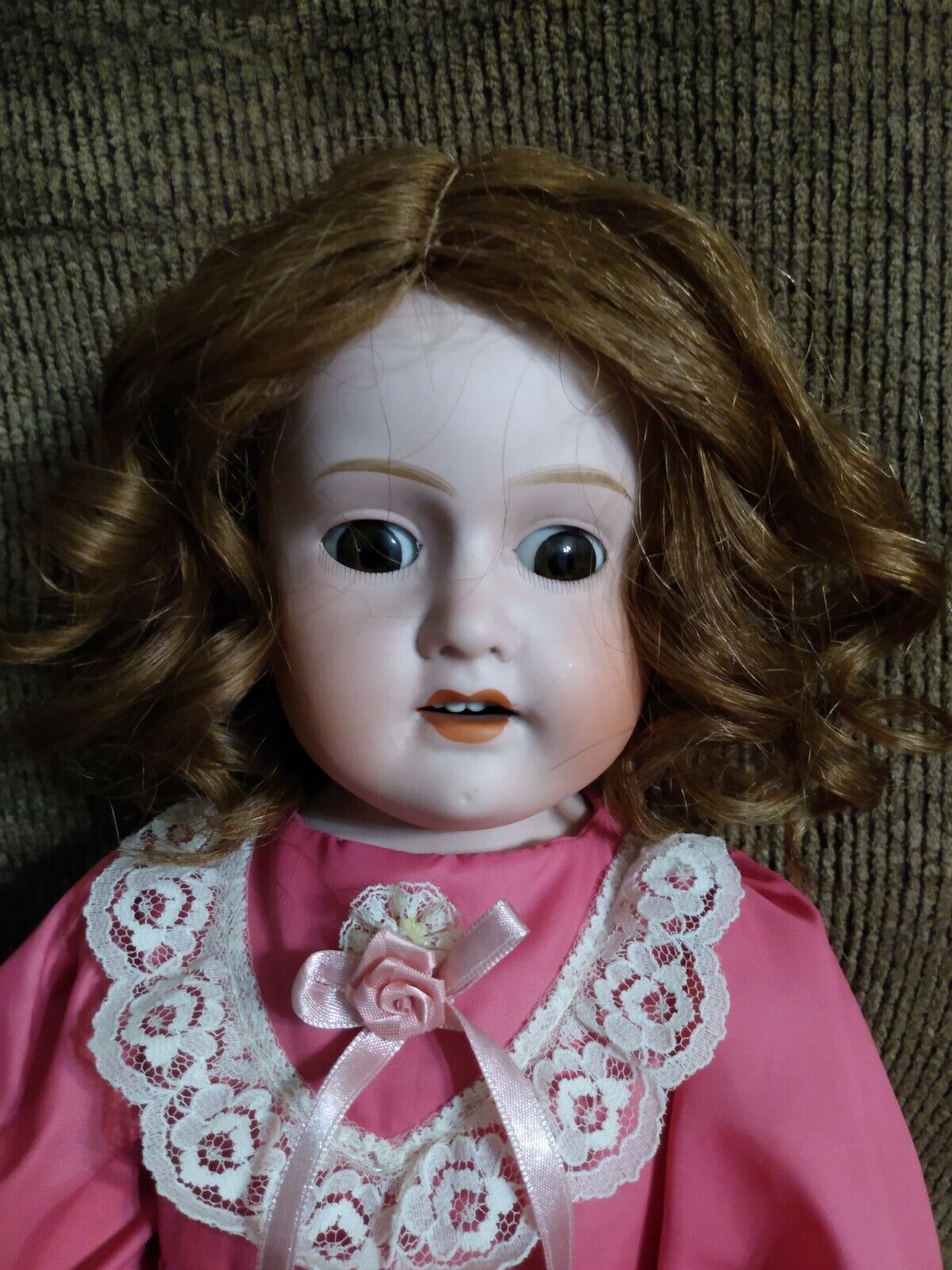 23 Antique Morimura Brothers Bisque Doll Nice Pink Dress Shoes Human Hair Wig - $99.00