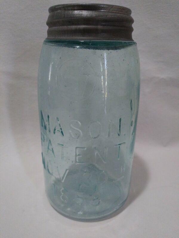 Rare Keystone Mason Jar Quart Patent Nov. 30th 1858
