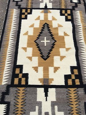 Antique Navajo Rug Two Grey Hills Weaving Native American Storm Pattern 1950 6x4