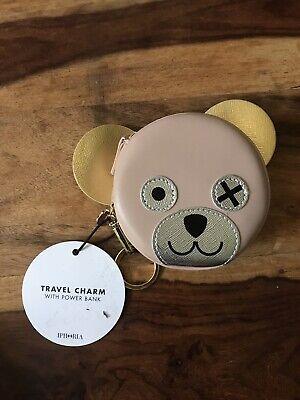 Iphoria Beige Teddy Bear Earphone Purse Travel Charm