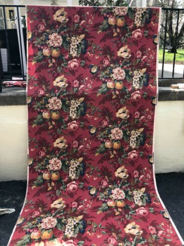 """P Kaufmann Queensland Crimson Red Floral Upholstery 54"""" wide SpSold by the Yard"""