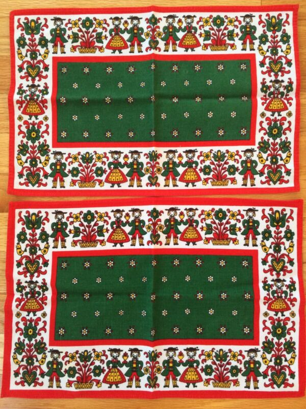 Kolf Austria Linen Folk Art 11 X 17  Placemat Doily  - Set Of 2
