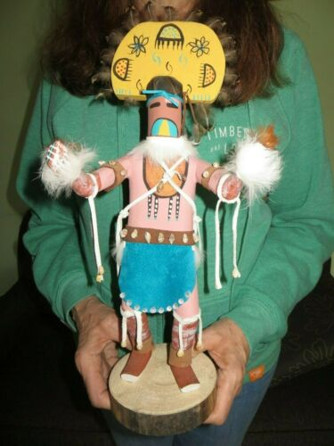 Large+Navajo+Shell+Belt+Medicine+Man+Kachina+Doll+Hand+Carved+Painted+15+Inches