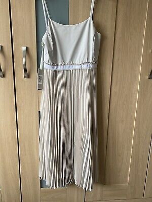 Pinko Cream Pleated Dress Size 8 New With Tags. RRP £309.00