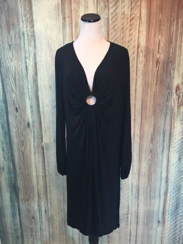 Michelle Jonas Keyhole Dress Black Long Sleeve Modal Celeb Fave $198 sz 2X NWT!