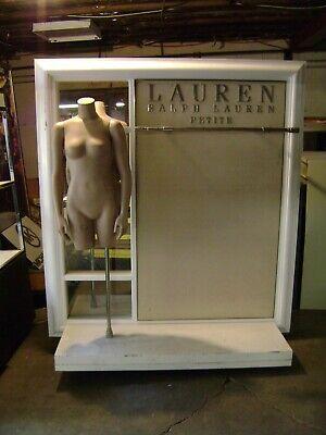 White Chrome Ralph Lauren Garment Rack W Mannequin Display Double Rack
