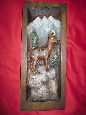 HOLZSCHNITZEREI junger Rehbock Alpensteinbock 600 g 45 x 18 x 2,3 cm handbemalt
