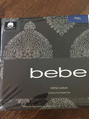 Bebe Black White Medallion Damask Full Sheet Set 4pc NEW Sheets Cotton Paisley Black And White Sheets