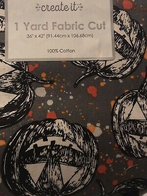 "CREATE IT HOLIDY COTTON FABRIC 1 YARD 36"" X 42"" HALLOWEEN PUMPKINS"