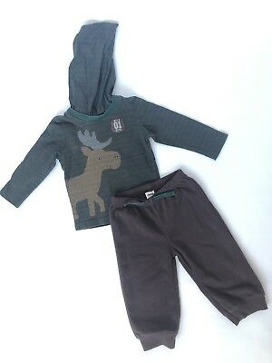 Child Of Mine Carters 12 Months Boys Fleece Pants Hoodie Shirt Outfit Moose Wild