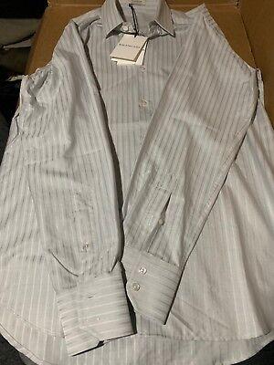 $408! NWT Men's Balenciaga Grey Striped Cotton Button Dress Shirt 15 3/4 40 WOW!