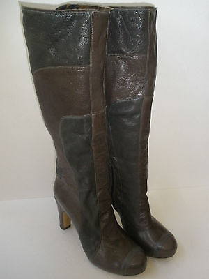 FLY GIRL  2 TONE LEATHER KNEE HI HEEL BOOT US 8 EUR 39 HOT RARE MADE IN - Hot Girl In Boots