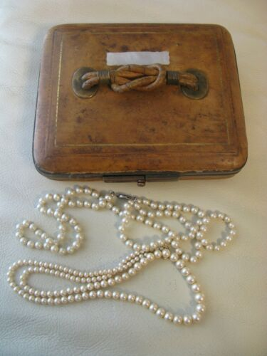 Antique Mother of Pearl English Leather Knot Jewelry Presentation Case Box Purse