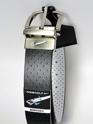 New Nike Men's Perforated Reversible Golf Belt Black White Size 34 Fits 32 waist