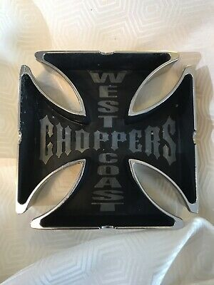 Retro West Coast Choppers Maltese Cross Silver/ Black Tone Metal Ashtray