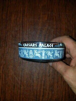 """Vintage Caesars Palace Las Vegas Blue/Gray White Glass Ashtray 3-1/2"""" Rat Pack!"""
