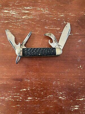 ULSTER KNIFE CO. 4 BLADE BONE HANDLE SCOUT KNIFE.