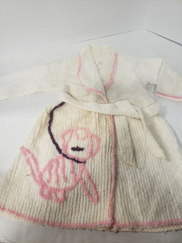 Vintage 1950s TODDLER SIZE 3 CHENILLE BATH ROBE PINK PUPPY RETRO BATHROOM COVER