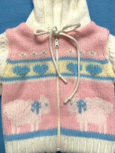 Vintage 1980s Baby Girl Sweater Hooded Pink Cream Sz M Baby Lambs