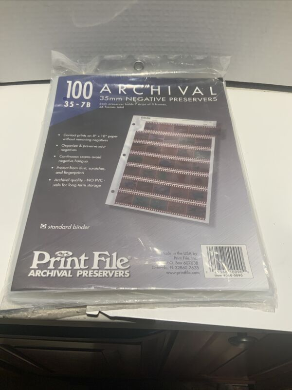 New 100 Count 35-7B 35 mm Archival Negative Preservers Sleeves Free Shipping
