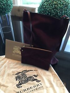 Burberry suede bag w/ pouch
