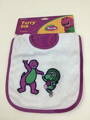 Barney & Baby Bop Dinosaur Terry Cloth Baby Toddler Bib 2005 New