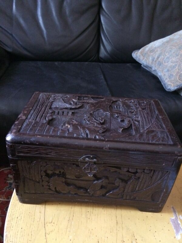 Chinese Camphor Wood Hand Carved Box Antique