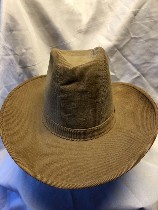 Vintage LEVIS  Western Cowboy hats  Brown CORDUROY Hat  Sz 7