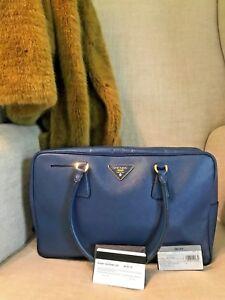 Authentic Prada Saffiano Blue Bauletto Tote Bag