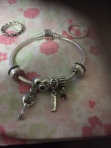 Authentic Pandora Bracelet, Clips, Charms, and Rings