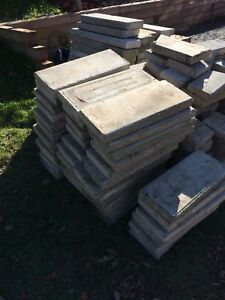 Cement slabs for retaining wall