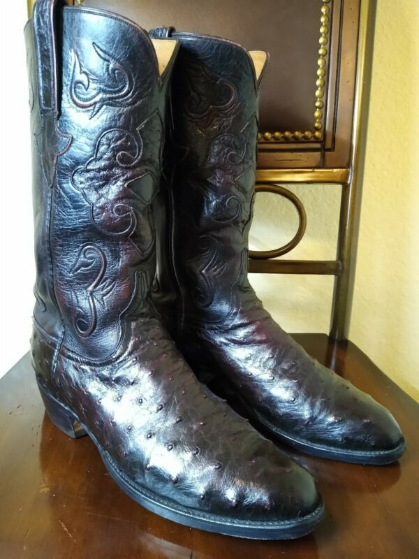 , LUCCHESE, CLASSICS, BLACK, CHERRY, FULL, QUILL, OSTRICH, COWBOY, WESTERN, BOOTS, 8.5, D