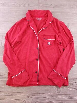 Victorias Secret Red pajama top button front pocket initials monogrammed XS  Y51](Monogrammed Christmas Pajamas)