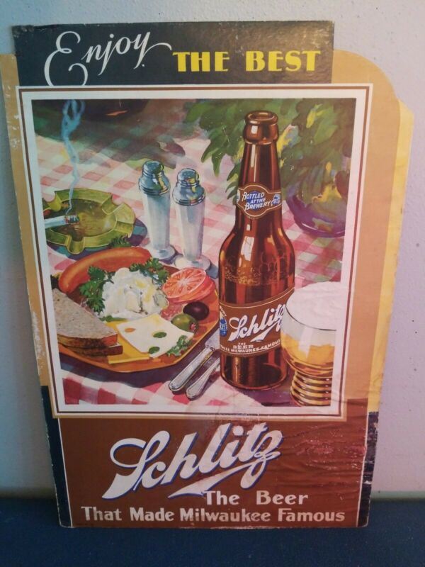 (VTG) 1930s Schlitz Beer bottle & food cardboard sign Milwaukee bar rare