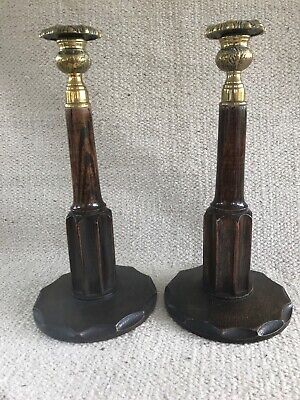 Beautiful Vintage Candlestick Holders Wood With Brass Tops