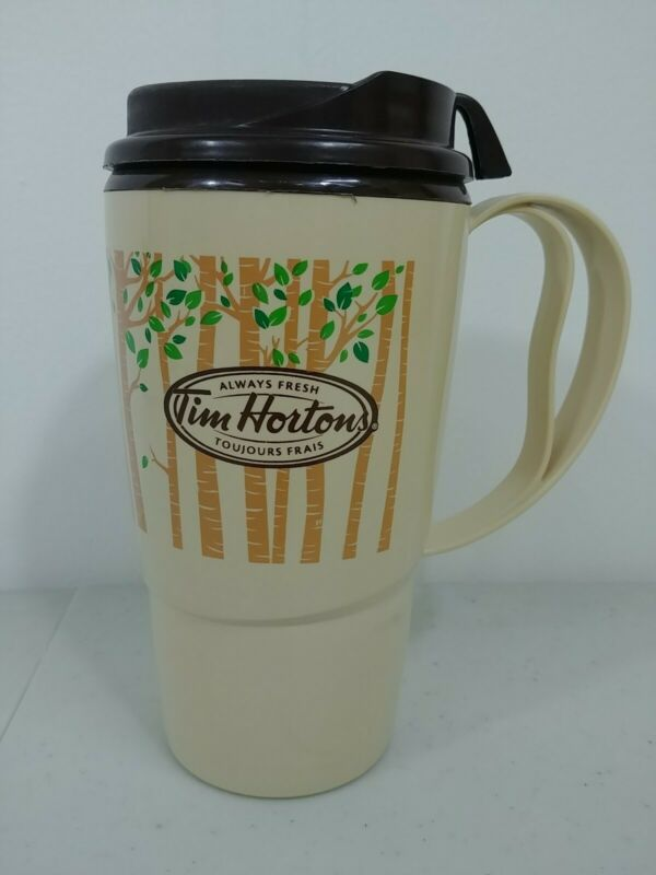 TIM HORTONS TRAVEL MUG  Plastic Light & Dark Brown 16oz Always Fresh Cafe G2