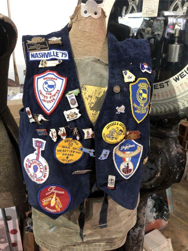 Vintage 1979 Pennsylvania Jaycees Vest w 22 Pins and 15 Buttons - Folk Art