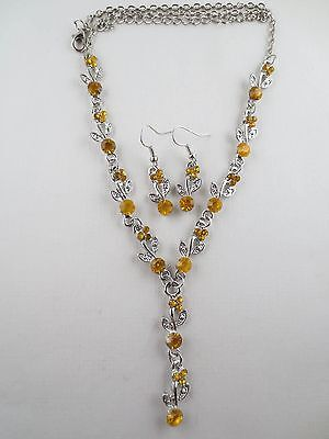Vintage Style Dangling Topaz Rhinestone Leaf Lariat Necklace Earrings