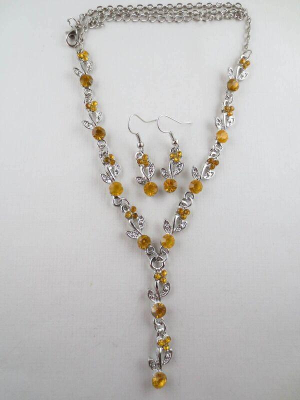 Vintage Style Dangling Topaz Rhinestone Leaf Lariat Necklace Earrings R48