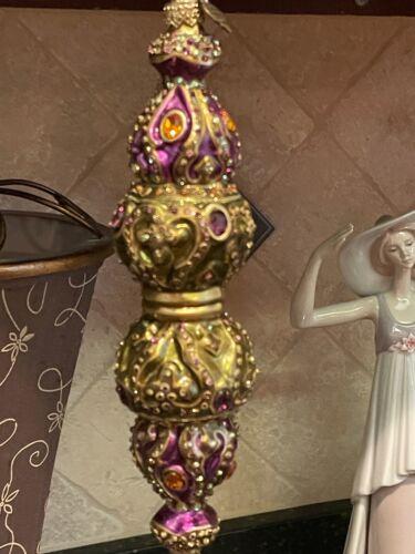 Jay Strongwater Ornament 2002 Rare 8in pendant Purple & Green Swarovski Crystals