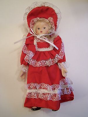 """Lovely Victorian Porcelain Doll dressed in Red Dress w/lace 8"""" tall"""