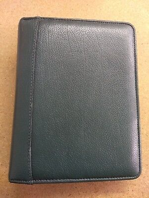 Franklin Quest Covey Green Leather Trim Compact Planner 6-ring