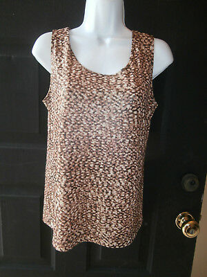 NWT NEW CHICOS TOP SZ 1 TRAVELERS LINE ANIMAL PRINT METALLIC REVERSIBLE TANK